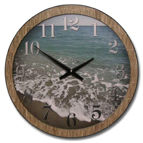 Beach-Wall-Clock-10-48-Whisper-Quiet-non-ticking