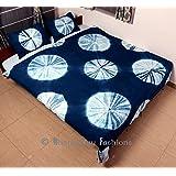 Exclusive- Indian Hand Tie Dye Duvet Cover Indigo Comforter Cover Boho Bedding Queen Size Shibori Quilt Cover