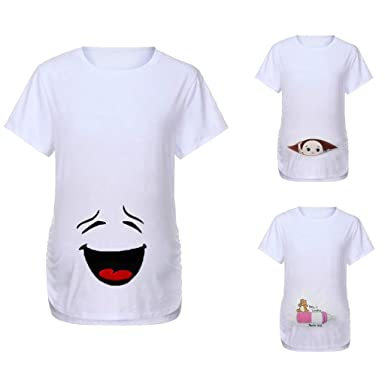 45f8f48ba564f Funny Graphic Tee Tops for Pregnant   Wesracia Cotton Pregnancy T-shirt  Funny Baby Peeking
