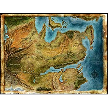 Amazon Com Thedas Map Dragon Age Fabric Cloth Rolled Wall Poster
