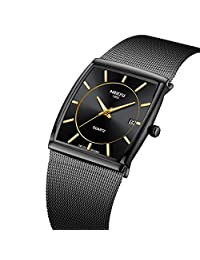 Mens Watch,Business Fashion Top Brand Luxury Dress Casual Watch Mesh Strap Waterproof with Date Square Wristwatch