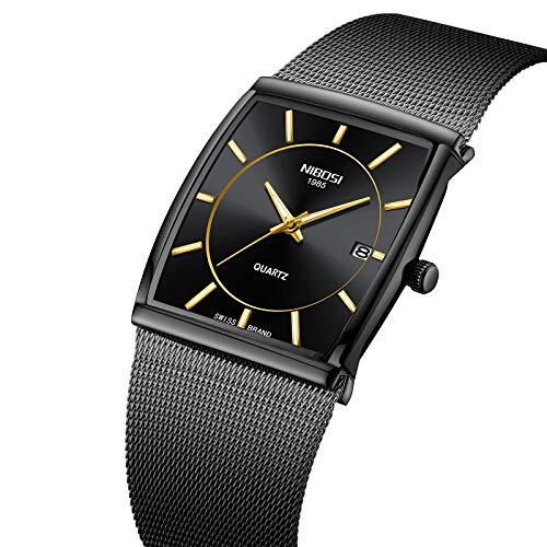nibosi Mens Watch,Business Fashion Top Brand Luxury Dress Casual Watch Mesh Strap Waterproof with Date Square Wristwatch (Mens Strap Casual Watch)