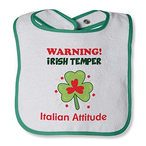 (Warning Irish Temper - Italian Attitude Cotton Boys-Girls Baby Terry Bib Contrast Trim - White Green, One)