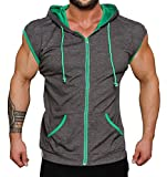 Coofandy Mens Casual Sleeveless Hoodie Zip Up Vest with Pockets,Type 1 Dark Gray,X-Large