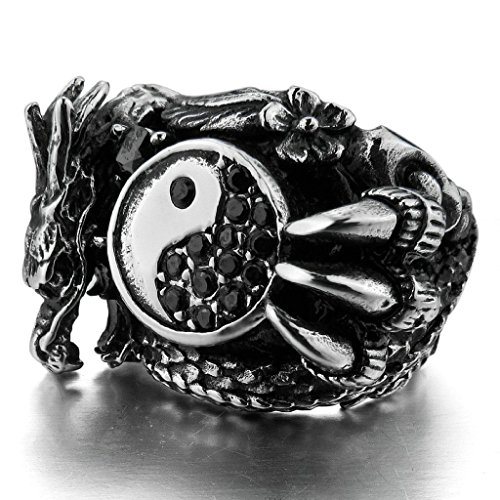 Bishilin Stainless Steel Black Stone Dragon Ying Yang Rings For Men Size 7 ()