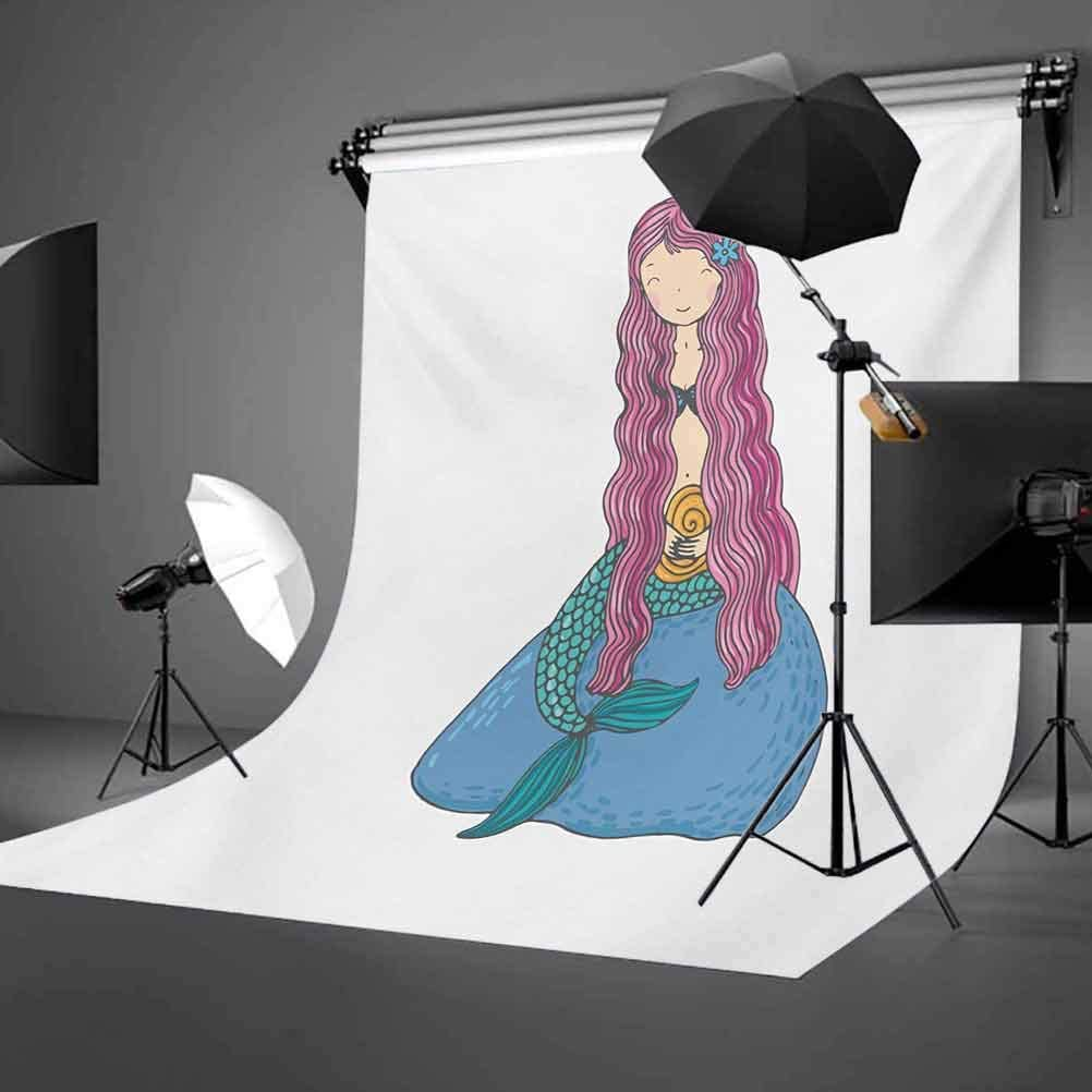 Mermaid 10x12 FT Photography Backdrop Sweet Mythological Girl with a Shell and Long Pink Hair Fantastic Sea Character Background for Photography Kids Adult Photo Booth Video Shoot Vinyl Studio Props