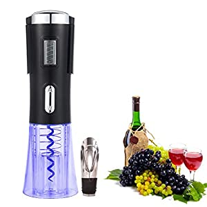 PAWACA Wine Opener,Electric Wine Bottle Opener Rechargeable & Cordless Electric Corkscrew with Foil Cutter and Wine Stopper,Opens Up to 100 Bottles,Black