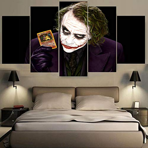 Fbhfbh Modern Canvas Wall Art Living Room Home Decor 5 Pieces Batman Joker Painting Print Movie Characters Poster Pictures Frame PENGDA-12x16/24/32inch,Without Frame
