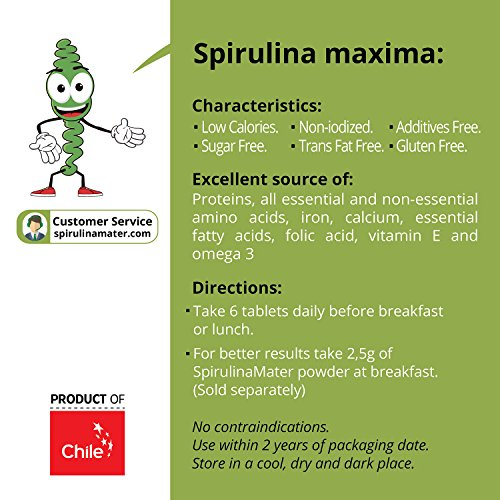 Amazon.com: Spirulina Tablets 500 mg 300 Ct by SPIRULINA Mater - Blue Green Algae Superfood - High Protein Supplement - Organic, Vegan, Gluten Free & Non ...
