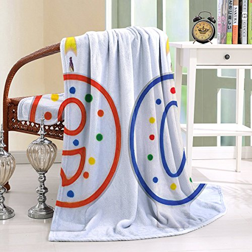 HAIXIA Blanket 90th Birthday Party Preparations Candles Number Ninety in Red and Blue Red Blue White