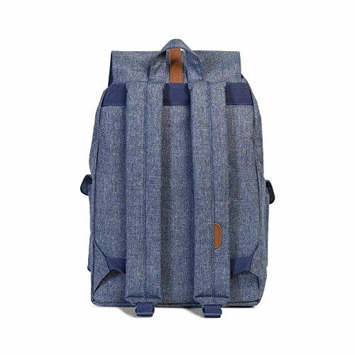 Herschel Unisex Erwachsene Daypack Dark Chambray Crosshatch/Tan Synthetic Leather qiOralpgr