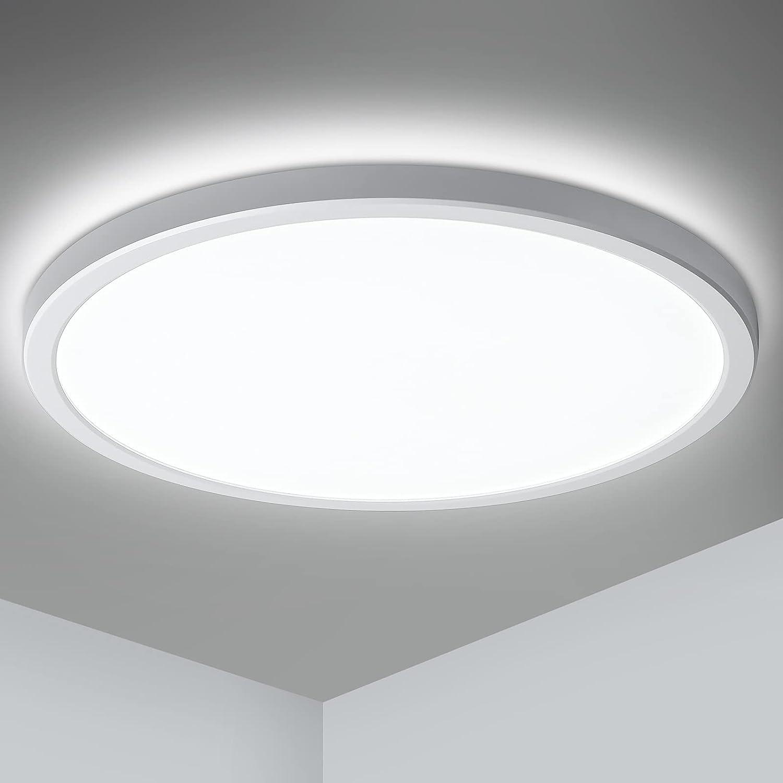Oeegoo Lámpara LED de techo, ultrafina 2.5 cm, 24W 2000Lm LED Plafón, sin parpadeos, para dormitorio, salón, cocina, pasillo, balcón, color blanco neutro 4000K