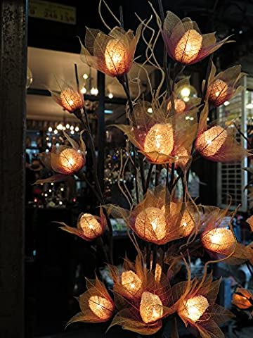 Luffa Artificial Flowers Lamps, Vase/floor/table Lamps, Night Light, Wedding Lighting, Home Decor, Gift, Made Of Luffa Natural Fiber, Paper, Fabric, 20 Light Bulbs, 33 - Thai Natural