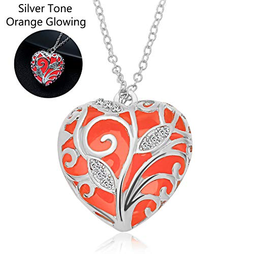 Orange Necklace Pendant - RINHOO Glow in The Dark Heart Charm Pendant Ladies Jewelry(Orange)