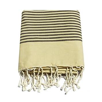 fouta grande XXL chocolate 2 m x 3 m a rayas: mantel, cortinas, mantas: mantel de lino francés internuncio funda para sofá de tiro: Amazon.es: Hogar