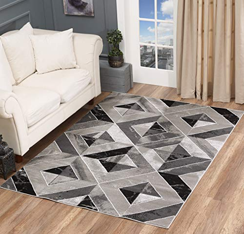 Golden Rugs Area Rug Abstract Diamond Modern Modern Distressed Carpet Bedroom Living Room Contemporary Dining Accent Sevilla Collection 5504 (8x10, Grey)