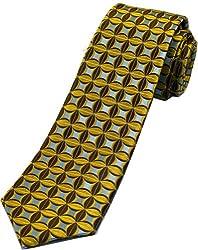 Zarrano Skinny Tie 100% Silk Woven Brown/Blue Patterned Tie