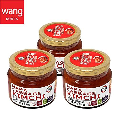 Korean Bottled Kimchi, Original Authentic Tasteful Bottle Napa Cabbage Kimchi, Vegan Gluten Free [No Preservatives] - 7.58 oz (3 Bottles) (Napa Cabbage)