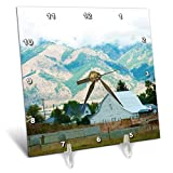 3dRose Jos Fauxtographee- Farm Country Barn - A White barn with Close up Mountains in Wyoming - 6x6 Desk Clock (dc_294289_1)