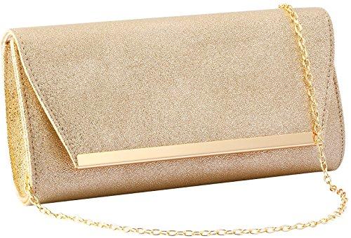 Women Evening Party Clutch Bags Handbag Bridal Wedding Purse (GOLD C) by KamostarX