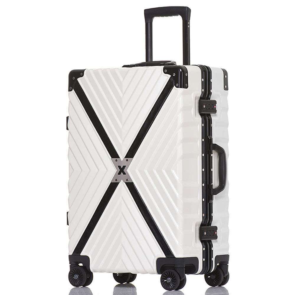 WJ スーツケース トロリーケース - ABS/PC、TSAコンビネーションロック、大容量、レトロアルミフレーム衝突防止ユニバーサルホイール学生搭乗シャーシ - オプションで2色3サイズ /-/ (色 : 白, サイズ さいず : 35*24*50cm) B07MXG3GNH 白 35*24*50cm