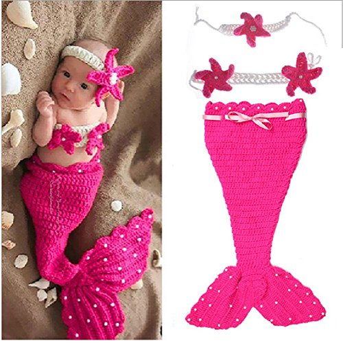Oliviabeauty Newborn Baby Girl Boy Cute Knit Hat Costume Photography Prop Outfit Set (Rose (Cute Baby Costumes For Girls)