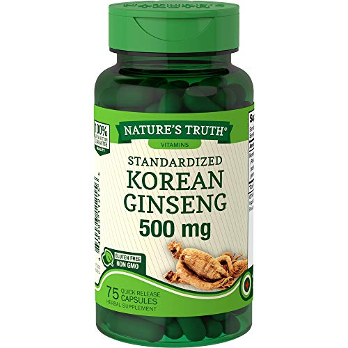 Korean Ginseng Capsules 500mg | 75 Count | Standardized Extract from Ginseng Root | Non-GMO, Gluten Free Supplement | by Nature's Truth Nature's Truth