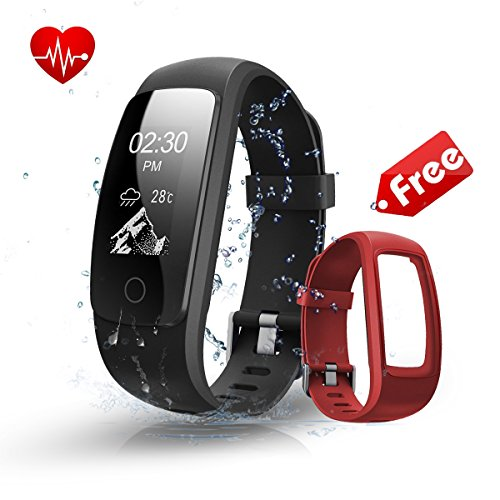Fitness Tracker Watch with Red Replaceable Band,Bonebit W...