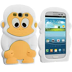 Accessory Planet(TM) White Monkey Silicone Design Soft Rubber Skin Case Cover Accessory for Samsung Galaxy S III S3