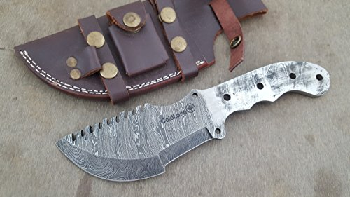 Cheap ColdLand Knives Handmade Damascus Steel Tracker Blank Blade with Free Leather Sheath for Knife Making Supplies ZB31L