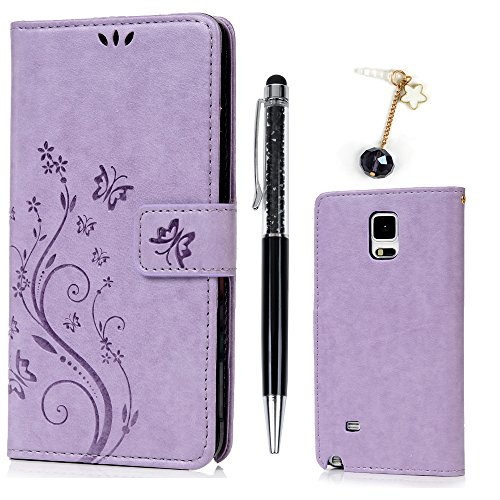 Note 4 Case Premium PU Leather Butterfly Embosssed Wallet Flip Cover Case Built-in Silicone Stand Case With 1 x Stylus Pen 1x Dustproof Plug for Samsung Galaxy Note 4, Phone - Brown Sunglasses Gray Vs