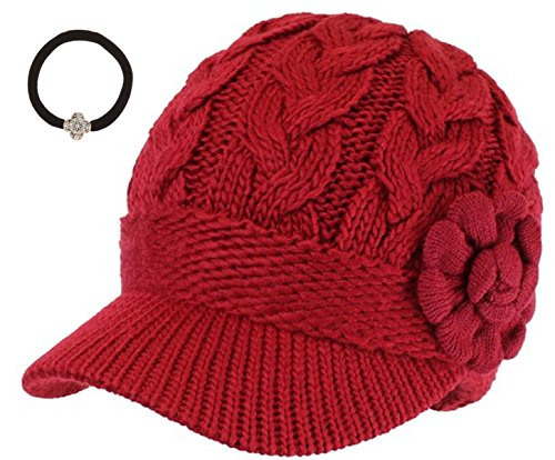 Women's Cable Knitted Double Layer Visor Beanie Hat with MIRMARU Hair Tie (Rossette Floral,Red)