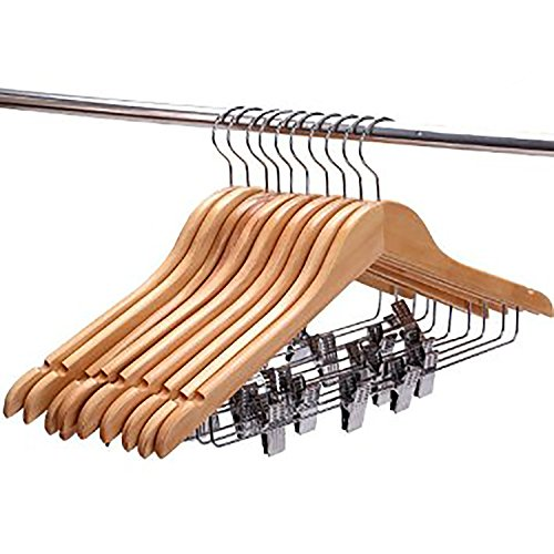 Decor Hut Wooden Non Slip Suit Pants & Skirt Hanger Metal Clips Can Be Moved so You Adjust to Wait Size! by Decor Hut
