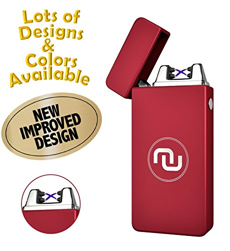 Novelty Wares - USB Flameless Plasma Dual Arc Rechargeable Windproof Cigarette Lighter with Charging Cable and Gift Box (Matte Red)