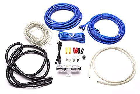 Stinger Select SS600XS 8 Gauge Complete 600 Watt OFC Amplifier Wiring Kit with Blue Twisted Pair RCA (Ofc 8 Gauge Amp Kit)
