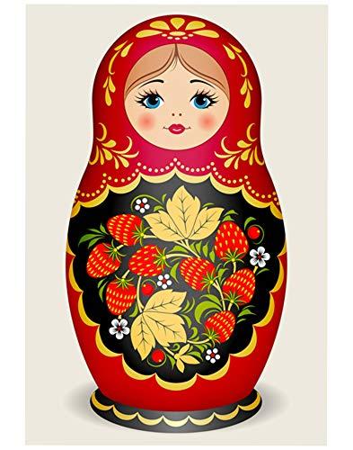TINMI ARTS 5D DIY Diamond Painting Kits for Adults Flowers Cross Stitch Rhinestone Embroidery Home Wall Decoration (Russian Doll Matryoshka Red, ()