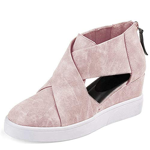 softome Women's Cut-Out Wedge Sneakers High Top Back Zipper Suede Shoes Pink