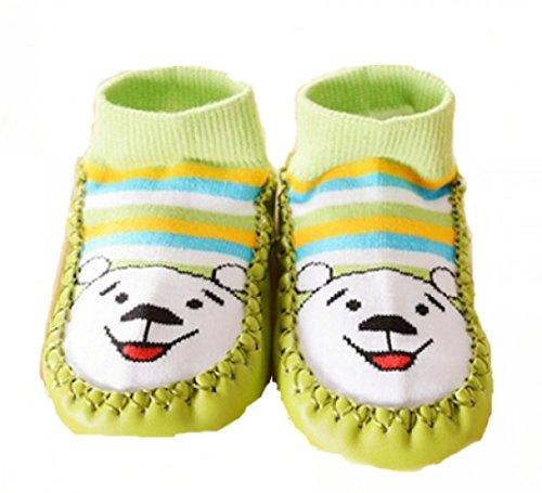 Zapatillas calcetines bebé con suela antideslizante de 6a 24Meses rosa rosa Talla:6 a 12 meses verde
