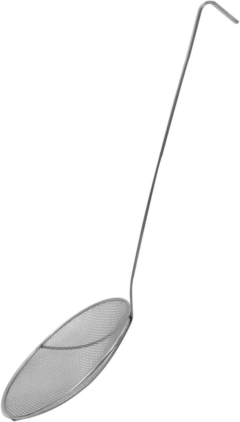 Khandekar Heavy Duty Nickel Plated Skimmer, Solid Mesh Strainer for Restaurant, Skimming Spoon, Wire Skimmer Ladle with Long Handle, Large - 27 inch