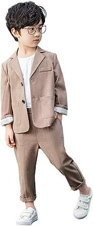 Conjunto de Traje de 2 Piezas para niños Conjunto de Blazer y pantalón Gris a Cuadros para niños, Ropa de Ocio o Vestido de Fiesta de Boda