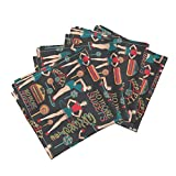 Roostery New Year Organic Sateen Dinner Napkins Dieters' Resolutions by Kociara Set of 4 Cotton Dinner Napkins made by