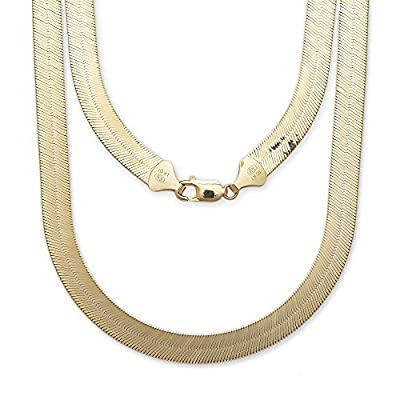 "10k Yellow Gold Super Flexible Silky Herringbone Chain Necklace for Women and Men, 0.35"" (9mm)"