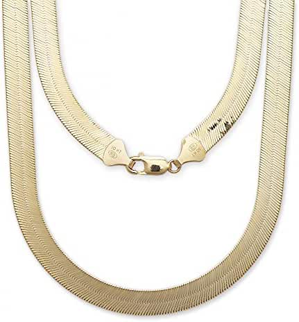 """10k Yellow Gold Super Flexible Silky Herringbone Chain Necklace for Women and Men, 0.35"""" (9mm)"""