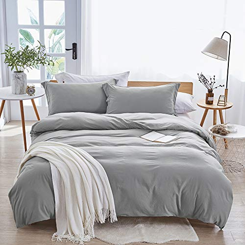 Dreaming Wapiti Duvet Cover,100% Washed Microfiber 3pcs Bedding Duvet Cover Set,Solid Color - Soft and Breathable with Zipper Closure & Corner Ties (Light Gray, Queen) (Duvet And Quilt)