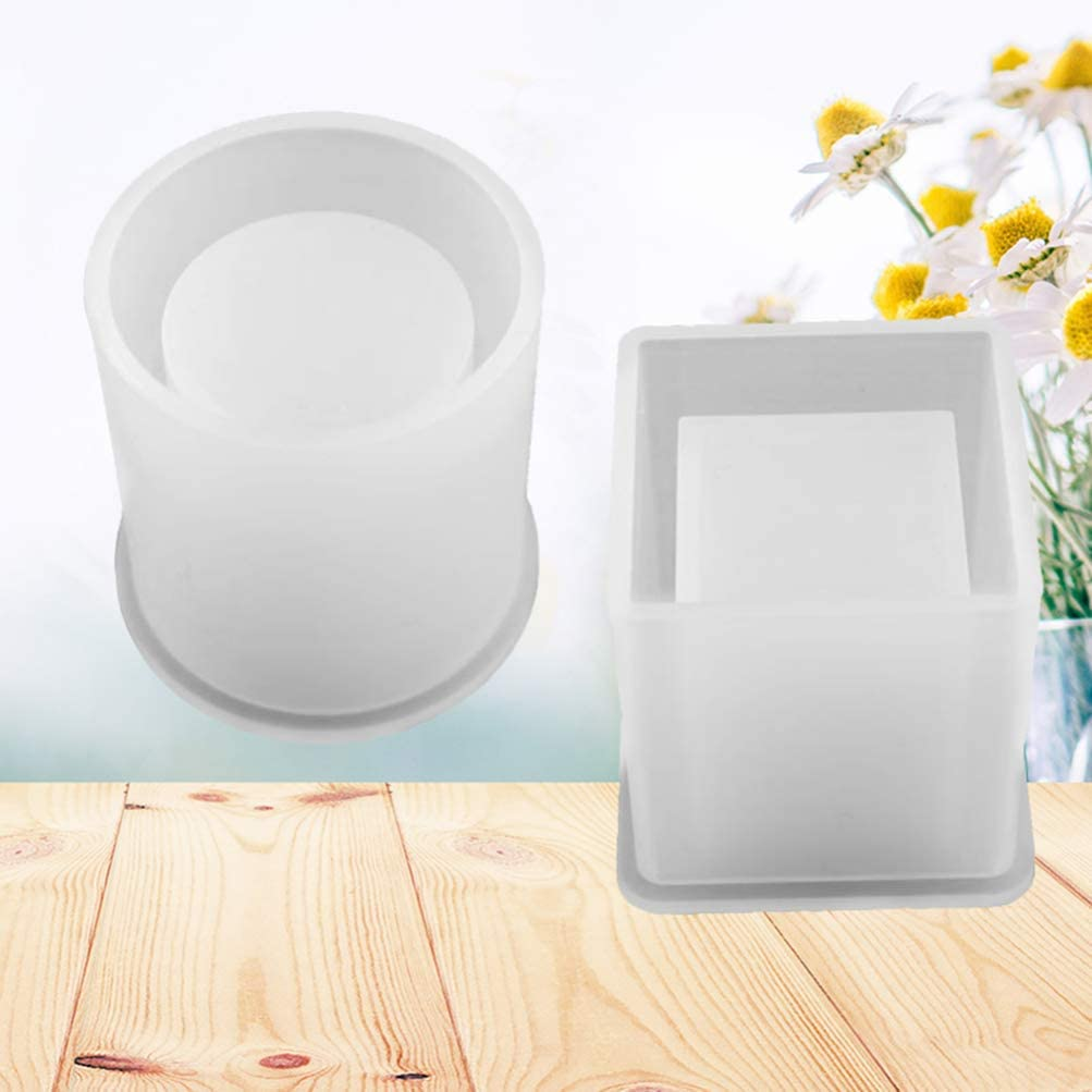 DIY Square Resin Mold for Making DIY Flower Pot,Planter Pot HEALLILY Cube and Cylinder Silicone Molds Pen Holder