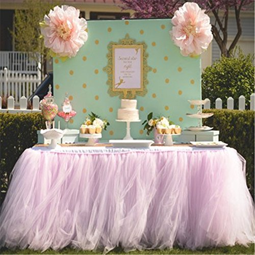 Hoxekle Tutu Tulle Table Skirt for Princess Party Table Wedding Decor Tableware Lace Tablecloth for Parties Baby Shower ()