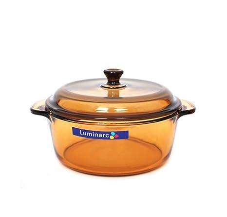 Luminarc Arc Amberline 1L olla de cocina utensilios de cocina con tapa de vidrio resistente al