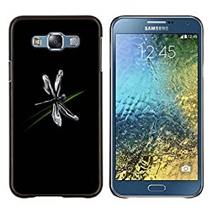 LECELL--Funda protectora / Cubierta / Piel For Samsung Galaxy E7 E700 -- Insecto Libélula Arte Hierba Negro Flying simple --