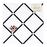 White and Navy Hotel Fabric Memory Board
