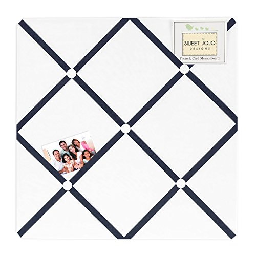 White and Navy Hotel Fabric Memory Board by Generic
